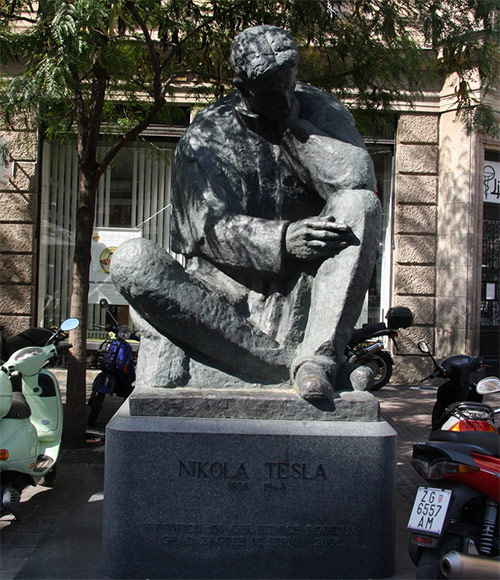 Nikola Tesla statue in Zagreb